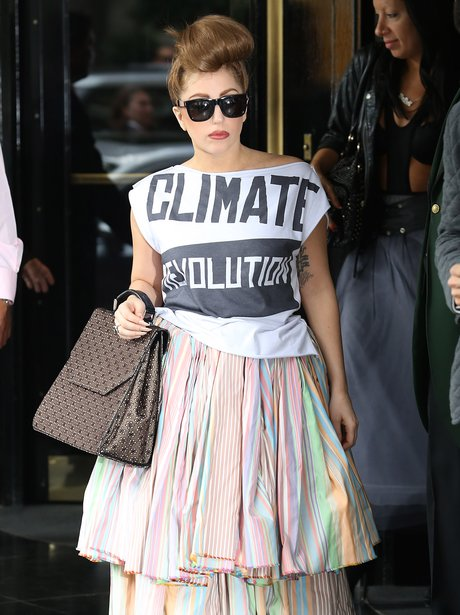 Lady Gaga wearing Enviromental t-shirt