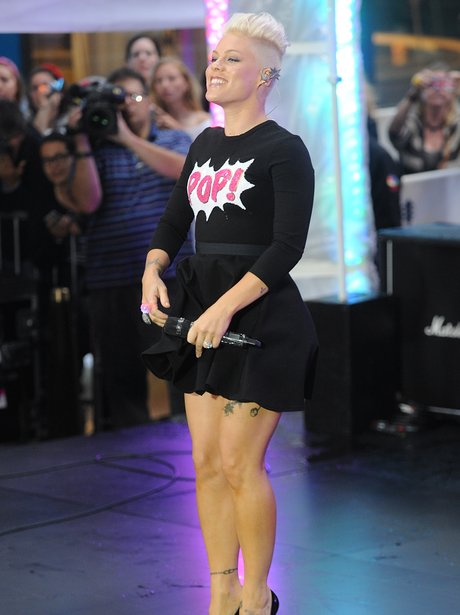 Pink performs live in New York City.