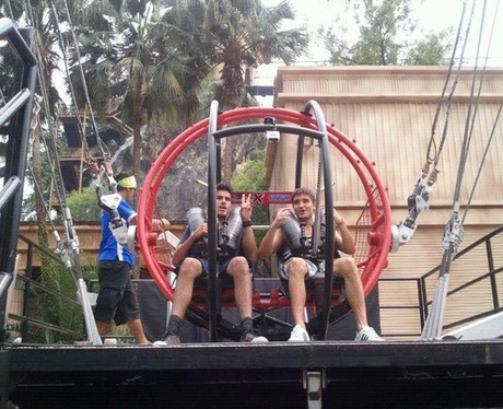 Siva and Tom from The Wanted on a rollercoaster