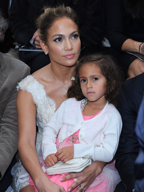 Jennifer Lopez with her daughter at Paris Fashion Week.