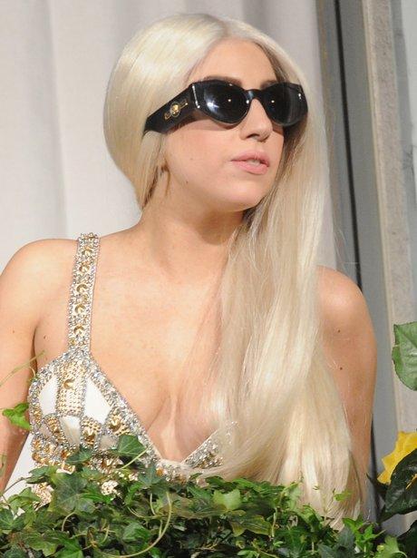 Lady Gaga shows off blond hair in Milan