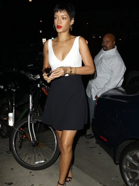 Rihanna dines out in Santa Monica in California.
