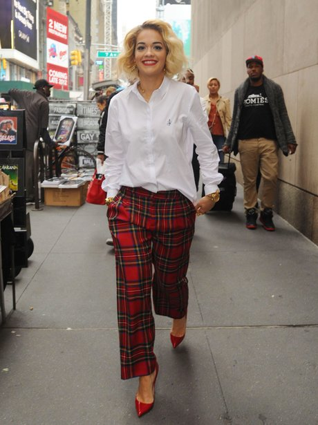 Rita Ora wearing tartan trousers in New york
