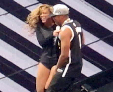 Beyonce and Jay-Z onstage in New York City.