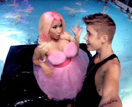 Nicki Minaj and Justin Bieber on the diving board