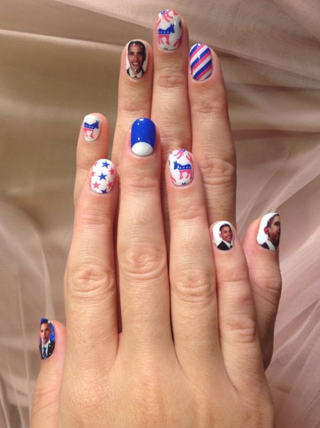 Katy Perry shows off her Obama nails