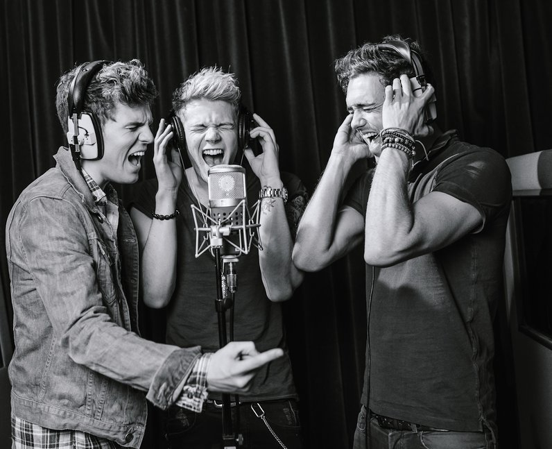 Lawson's Andy Brown, Joel Peat and Ryan Fletcher in the studio