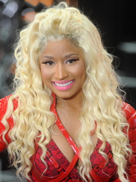 Nicki Minaj with long blond curly hair