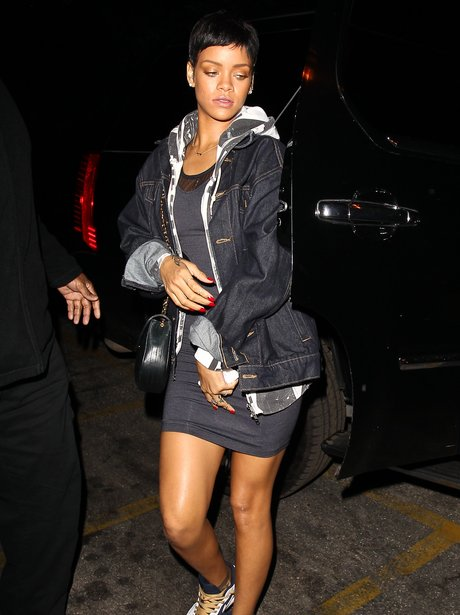 Rihanna heading to a studio in Hollywood.