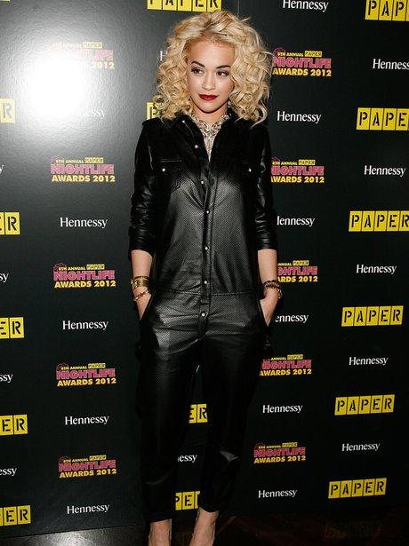 Rita Ora In a leather jumpsuit.