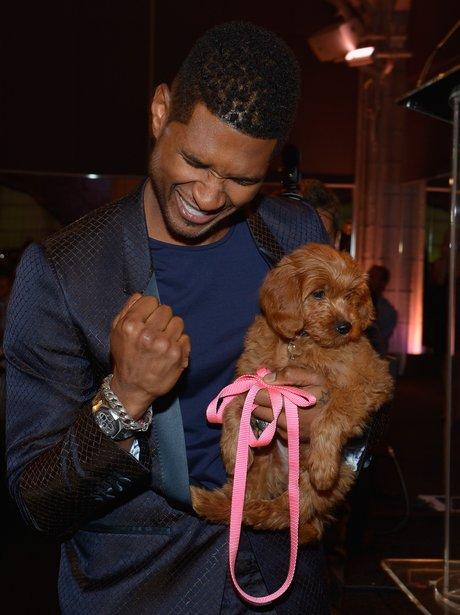 Usher holding a dog