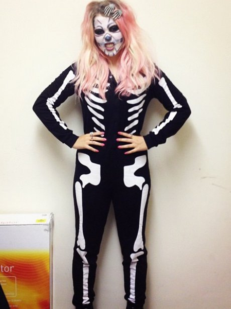 Amelia Lily dressed as a skeleton