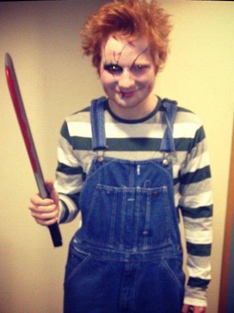 Ed Sheeran dressed as Chucky.