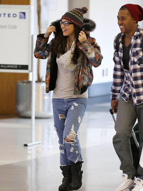 Cheryl and Tre Holloway at the airport