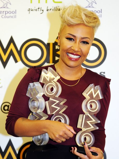 Emeli Sande with her three MOBO awards