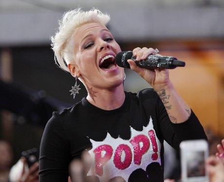 Pink sings live