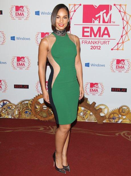 Alicia Keys in green Stella McCartney dress at the MTV EMA 2012