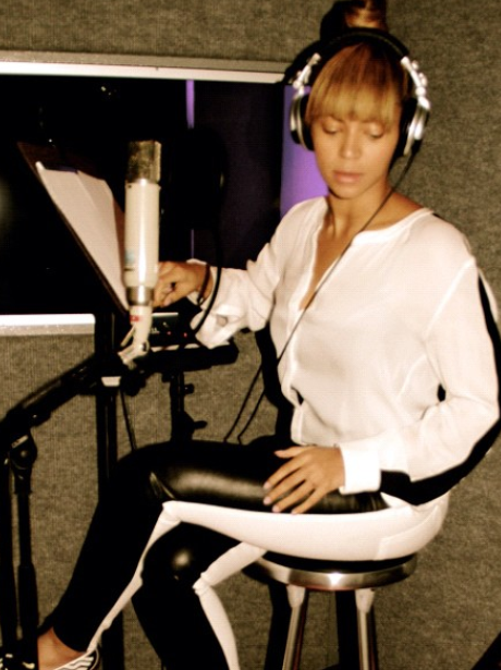Beyonce in the recording studio