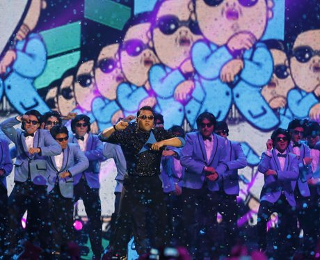 Psy performs during the 2012 MTV European Music Aw
