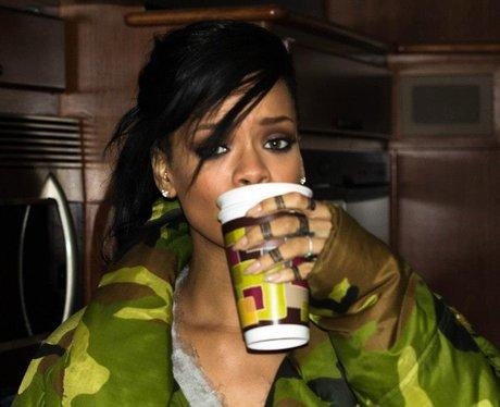 Rihanna drinking on 'Diamonds' video shoot