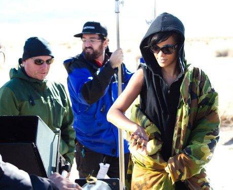 Rihanna and crew during 'Diamonds' video shoot