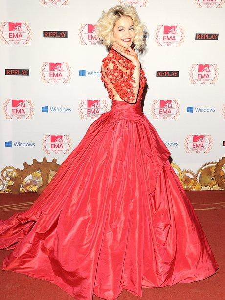 Rita Ora wearing red lace dress at MTV EMAs 2012