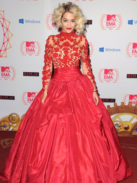 Rita Ora wearing red lace dress at MTV EMAs 2012