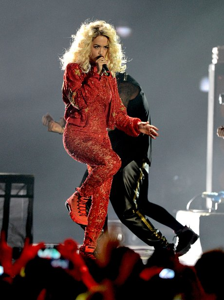 Rita Ora performs at the Rita Ora on stage during the MTV EMA 2012