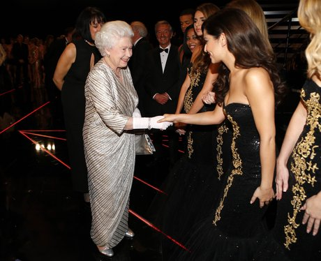Girls Aloud with Queen Elizabeth at Royal Variety Performance 2012
