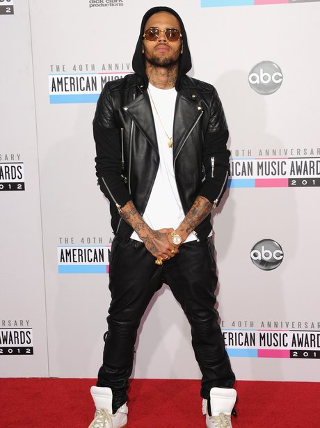 Chris Brown arrives at the American Music Awards 2012.