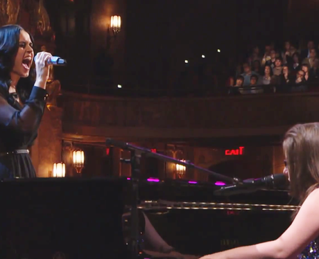 Katy Perry performing with autistic pianist