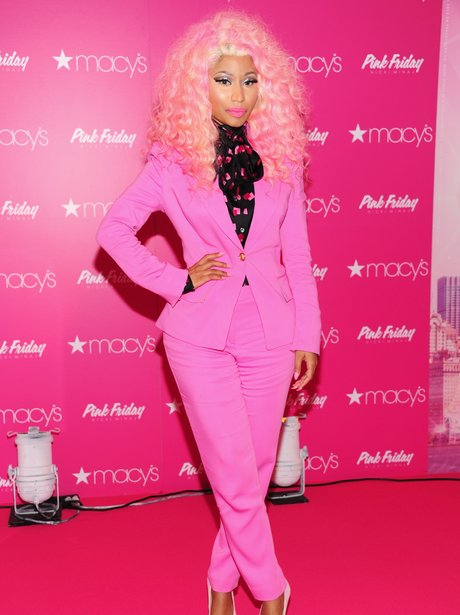 Nicki Minaj wears pink suit