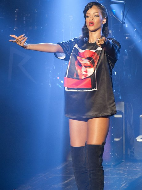 Rihanna performs during her 777 tour in Paris