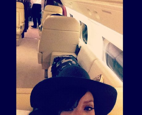 Rihanna on her private plane