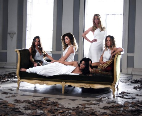 Girls Aloud lying on couch in 'Beautiful 'Cause You Love Me' video