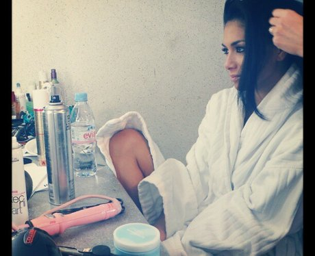 Nicole Scherzinger getting her make-up done