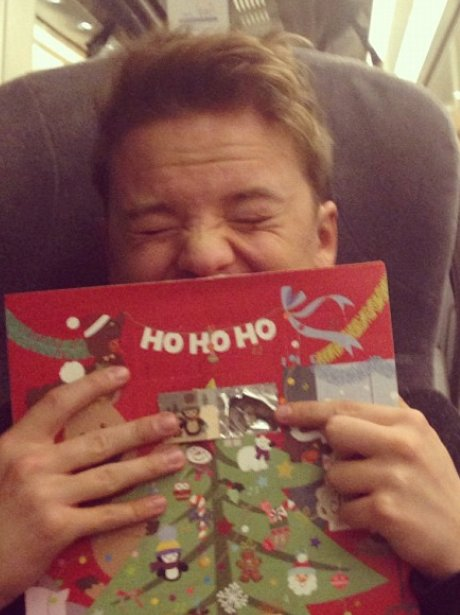 Conor Maynard with an advent calendar