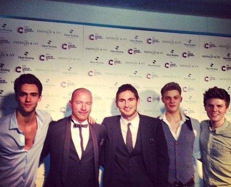 Lawson with Frank Lampard and Alan Shearer