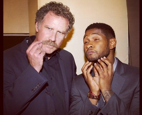Usher and Will Ferell holding their beards