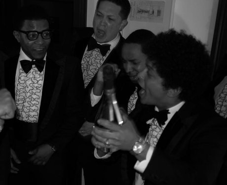 Bruno Mars and his friends on a night out in London