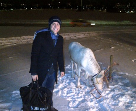 Olly Murs and a reindeer