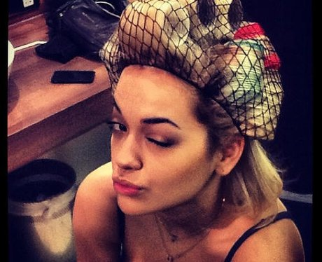 Rita Ora wearing a hair net