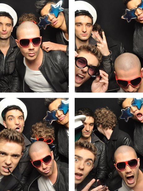 The Wanted in the photo booth at the Jingle Bell