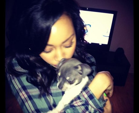 Leigh-Anne Pinnock with a puppy dog