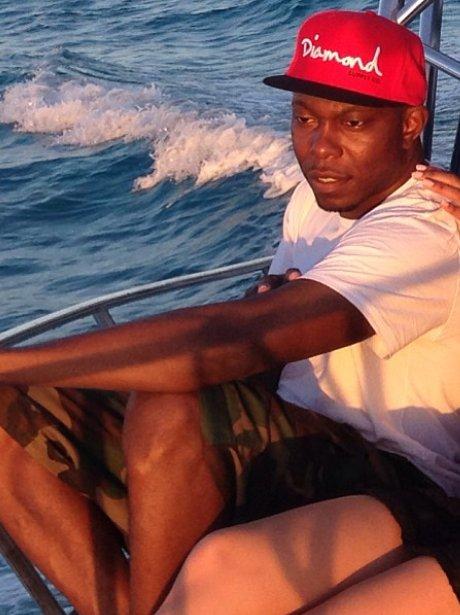 Dizzee Rascal on a boat in The Cayman Islands