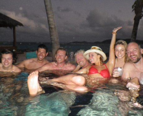 Harry Styles and Richard Branson in hot tub