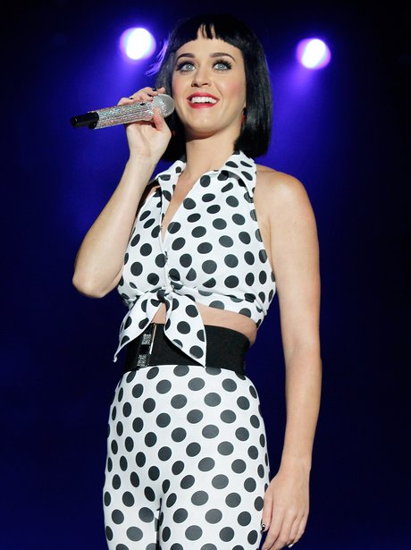 Katy Perry wearing polka dot outfit at Summertime Ball 2012