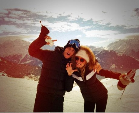 Pixie Lott and Olver Cheshire on a ski holiday