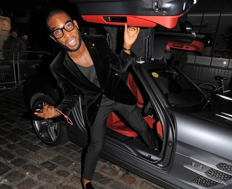 Tiie Tempah getting out of a car
