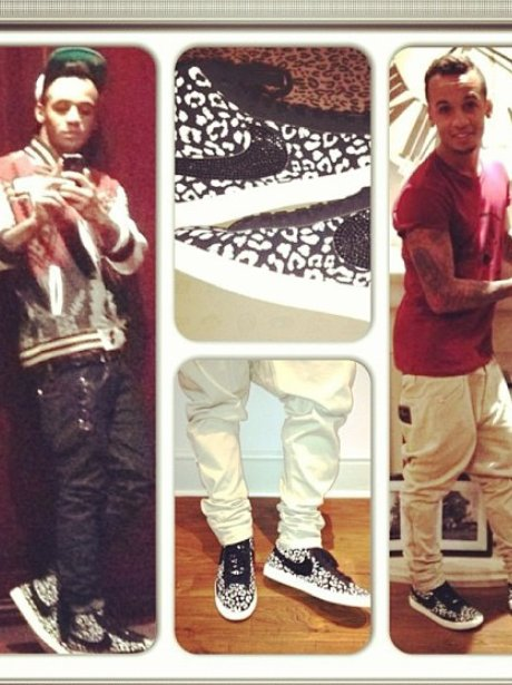 Aston merrygold shows off his trainers